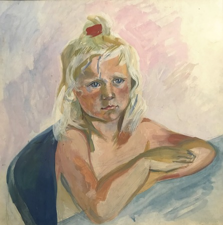 Drawing of beautiful girl child, blond hair. Picture contains interesting idea, evokes emotions, aesthetic pleasure. Canvas stretched on a stretcher, oil natural paints. Concept art painting texture Stock fotó