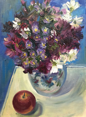 Drawing bright sunny day, wild flowers in glass vase. Picture contains interesting idea, evokes emotions aesthetic pleasure. Canvas stretched stretcher oil natural paints. Concept art painting texture