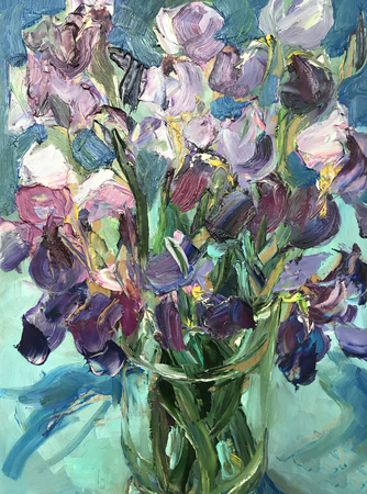 Drawing of bright colors irises in glass vase. Picture contains interesting idea, evokes emotions, aesthetic pleasure. Canvas stretched on stretcher, oil natural paints. Concept art painting texture Stock fotó