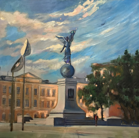 Drawing bright sunny day, big city street statue. Picture contains interesting idea, evokes emotions, aesthetic pleasure. Canvas stretched on stretcher oil natural paints. Concept art painting texture Stock fotó