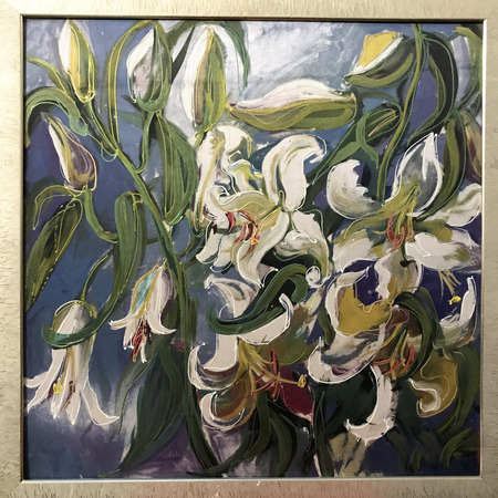 Drawing of bright white flowers in square frame. Picture contains interesting idea, evokes emotions, aesthetic pleasure. Canvas stretched on stretcher, oil natural paints. Concept art painting texture Stock fotó