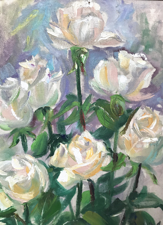 Drawing of bright white roses, gift for girl. Picture contains interesting idea, evokes emotions, aesthetic pleasure. Canvas stretched on stretcher, oil natural paints. Concept art painting texture
