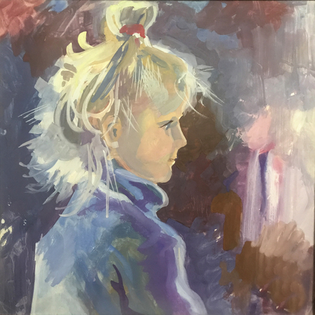 Drawing of beautiful girl child, blond hair, violet sweater. Picture contains interesting idea, evokes emotions, aesthetic pleasure. Canvas stretcher, oil natural paints. Concept art painting texture Stock fotó