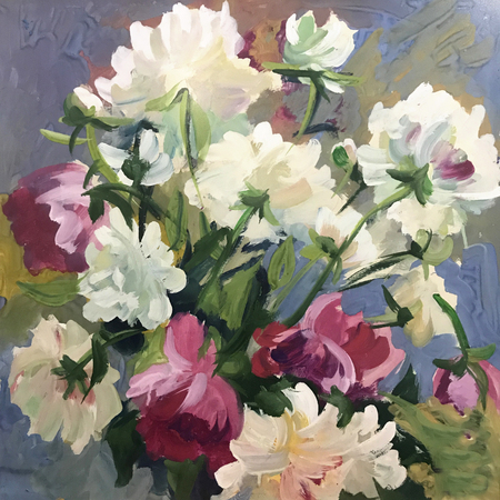 Drawing of bright sunny day, garden summer flowers. Picture contains interesting idea, evokes emotions, aesthetic pleasure. Canvas stretched stretcher oil natural paints. Concept art painting texture