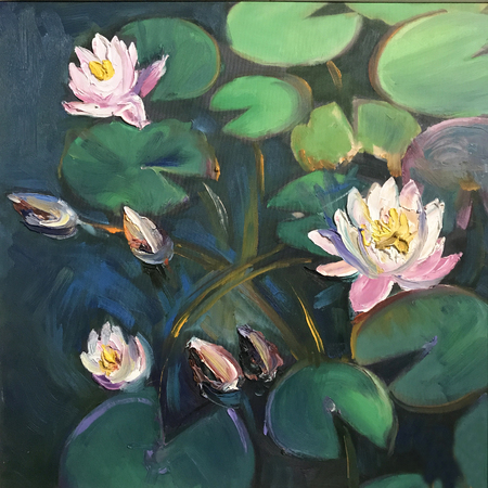 Realistic oil painting square. Water lilies bloomed on round petals, water-lily closeup in the garden lake, swamp, river. Modern conceptual picture of bright sunny day, positive mood like fairytale Stock Photo - 119216145
