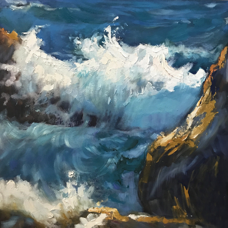 Drawing bright blue white waves, vacation cliff. Picture contains interesting idea, evokes emotions, aesthetic pleasure. Canvas stretched on stretcher, oil natural paints. Concept art painting texture