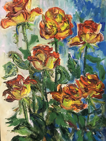 Drawing of bright fire roses, vertical banner. Picture contains interesting idea, evokes emotions, aesthetic pleasure. Canvas stretched on stretcher, oil natural paints. Concept art painting texture Stock fotó