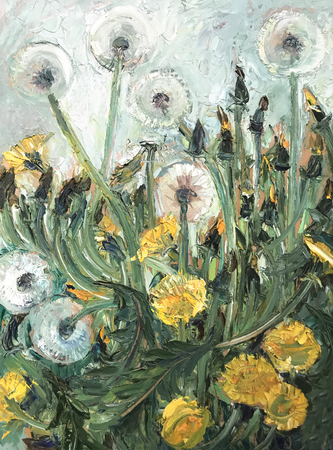 Drawing bright dandelions blossomed field, vintage. Picture contains interesting idea, evokes emotions, aesthetic pleasure. Canvas stretched stretcher oil natural paints. Concept art painting texture Stock fotó