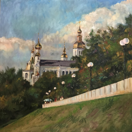 Drawing bright sunny day, summer history tourism. Picture contains interesting idea evokes emotions, aesthetic pleasure. Canvas stretched on stretcher, oil natural paints. Concept art painting texture