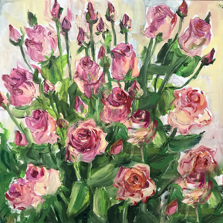 Drawing of bright sunny day, garden morning flowers. Picture contains interesting idea, evokes emotions, aesthetic pleasure. Canvas stretched stretcher oil natural paints. Concept art painting texture