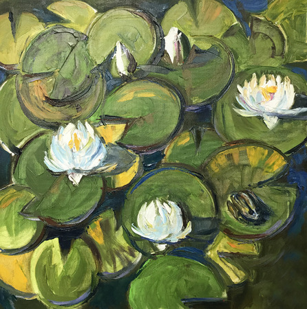Realistic oil painting. Water lilies bloomed on round petals, water-lily closeup in the garden lake, swamp, river. Modern conceptual picture bright sunny day, positive mood like fairytale frog story