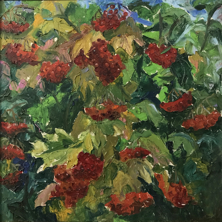 Drawing bright viburnum blossomed tree, vintage. Picture contains interesting idea, evokes emotions, aesthetic pleasure. Canvas stretched stretcher, oil natural paints. Concept art painting texture Stock fotó