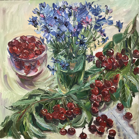 Drawing of bright flowers, Christmas & New Year. Picture contains interesting idea, evokes emotions, aesthetic pleasure. Canvas stretched on stretcher, oil natural paints. Concept art painting texture
