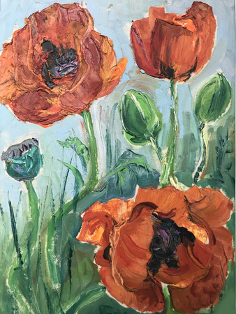 Drawing of bright sunny day, orange poppies flowers. Picture contains interesting idea, evokes emotions, aesthetic pleasure. Canvas stretched stretcher oil natural paints. Concept art painting texture