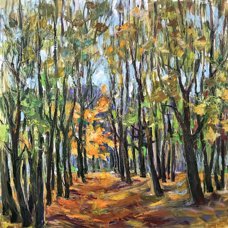 Drawing bright autumn forest mood, orange leaves. Picture contains interesting idea, evokes emotions, aesthetic pleasure. Canvas stretched on stretcher oil natural paints. Concept art painting texture Stock fotó