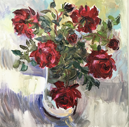 Drawing bright sunny day, morning flowers in vase. Picture contains interesting idea, evokes emotions, aesthetic pleasure. Canvas stretched stretcher oil natural paints. Concept art painting texture Stock fotó