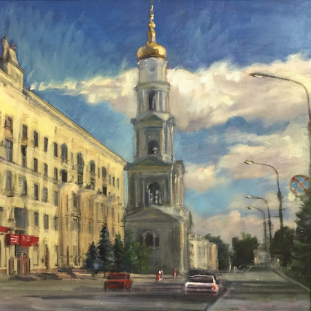 Drawing bright sunny day in big city street way. Picture contains interesting idea, evokes emotions, aesthetic pleasure. Canvas stretched on stretcher, oil natural paints. Concept art painting texture Stock fotó