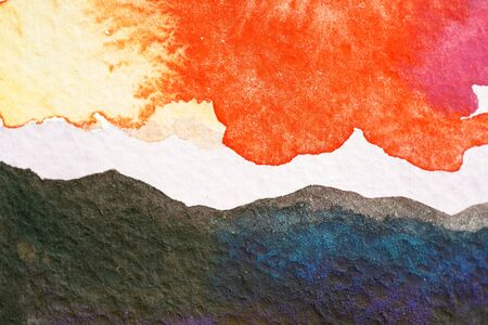 Painted mountains watercolor. Bright sky with yellow red orange pink clouds. Black gray blue rocks of hills. Close up photo many details rough paper textured. Colorful art space, free place for text. Stock fotó