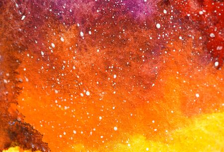 Painted red universe watercolor. Bright yellow orange clouds, white stars. Impression composition burst sky. Close up photo many details rough paper textured. Colorful art space, free place for text.