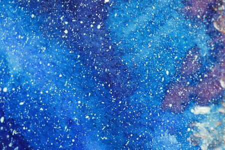 Painted cosmos watercolour. Bright sky with purple blue turquoise violet clouds, white shiny stars, light pattern for cloth print. Close up photo many details rough paper textured. Colorful art space