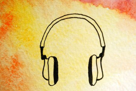 Painted headphones watercolor. Bright sky with yellow orange clouds. Black liner pen lines earphones for asmr deep relaxation. Close up photo many details rough paper textured. Colorful art space
