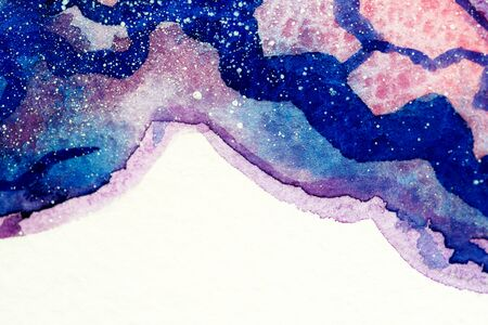 Painted mountains watercolor. Bright sky, blue violet purple pink clouds, stars. White snow rocks of hills. Close up photo many details rough paper textured. Colorful art space, free place for text