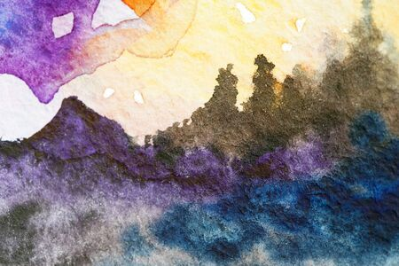 Painted mountains watercolor. Bright sky with purple yellow orange violet clouds. Black gray blue rocks of hills, fir pines trees. Close up photo many details rough paper textured. Colorful art space Stock fotó
