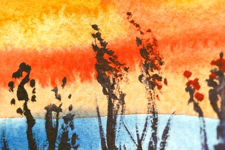 Painted landscape watercolor. Bright sky with yellow red orange clouds. Black grass, autumn flowers. Close up photo many details rough paper textured. Colorful modern art space, free place for text. Stock fotó