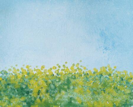 Dibujo de diente de león de flores de color amarillo brillante, cielo azul. La imagen contiene una idea interesante, evoca emociones, placer estético. Lienzo estirado sobre camilla pinturas naturales. Textura de pintura de arte conceptual Foto de archivo