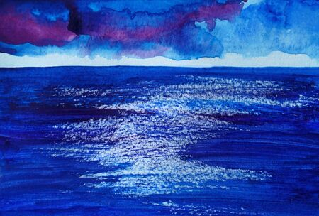 Drawing of bright blue sea, sky violet clouds. Picture contains interesting idea, evokes emotions, aesthetic pleasure. Canvas stretched on a stretcher, oil natural paints. Concept art painting texture Stock fotó