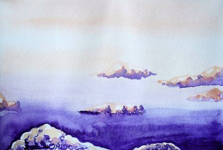 Drawing of bright purple sky, violet clouds. Picture contains interesting idea, evokes emotions, aesthetic pleasure. Canvas stretched on a stretcher, oil natural paints. Concept art painting texture