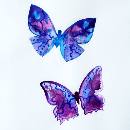Painted blue universe watercolor, two butterflies. Bright purple violet clouds stars. Impression composition burst sky. Close up photo many details textured. Colorful art space, free place for text.