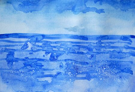 Drawing of bright blue sea, sky clouds. Picture contains interesting idea, evokes emotions, aesthetic pleasure. Canvas stretched on a stretcher, oil natural paints. Concept art painting texture paper Stock fotó