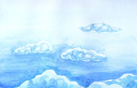 Drawing of bright sky, white fluffy clouds. Picture contains interesting idea, evokes emotions, aesthetic pleasure. Canvas stretched on a stretcher, oil natural paints. Concept art painting texture