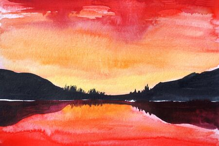 Drawing of bright sea, orange sky clouds. Picture contains interesting idea, evokes emotions, aesthetic pleasure. Canvas stretched on stretcher, oil natural paints. Concept art painting texture paper Stock fotó