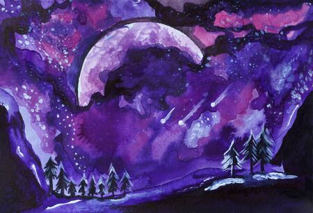 Painted violet universe watercolor. Bright pink purple clouds, small stars. Impression composition burst sky. Close up photo many details rough paper textured. Colorful art space, free place for text.
