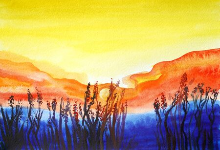 Drawing of bright sunset sunrise over the sea. Picture contains interesting idea, evokes emotions, aesthetic pleasure. Canvas stretched on a stretcher, oil natural paints. Concept art painting texture