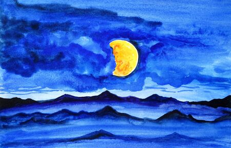 Drawing of bright mountains, hills blue sky. Dark silhouettes, yellow round moon. Picture contains interesting idea, evokes emotions, aesthetic pleasure. Natural paints. Concept art painting texture