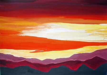 Drawing of bright mountains landscape, yellow red clouds, orange silhouette hills. Picture contains interesting idea, evokes emotions aesthetic pleasure. Natural paints. Concept art painting texture