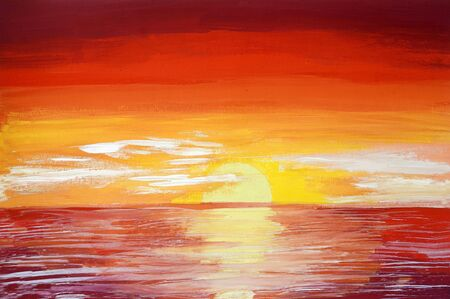 Drawing of bright sea sunset sunrise, yellow red clouds, orange highlights on water. Picture contains interesting idea, evokes emotions aesthetic pleasure. Natural paints. Concept art painting texture