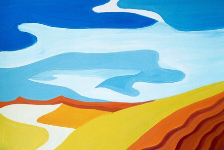 Drawing of bright Egyptian desert landscape, yellow sand, orange silhouette hills. Picture contains interesting idea, evokes emotions aesthetic pleasure. Natural paints. Concept art painting texture