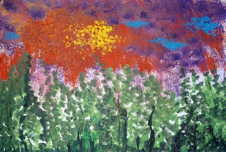 Drawing of bright tree pointillism technique, black lines silhouette. Rain pours, red sky sun. Picture contains interesting idea, evokes emotions pleasure. Natural paints. Concept art travel painting