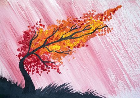 Drawing of bright tree pointillism technique, black lines silhouette. Rain pours diagonally. Picture contains interesting idea, evokes emotions pleasure. Natural paints. Concept art travel painting