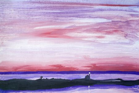 Drawing of bright sea sunset sunrise, red clouds, violet highlights on water, black lighthouse. Picture contains interesting idea, evokes emotions pleasure. Natural paints. Concept art travel painting Stock fotó - 127010821