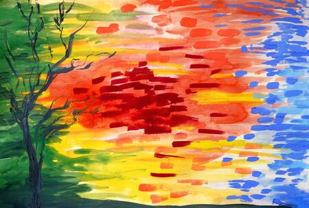 Drawing of bright colours composition graphic grunge style. Decorative points image. Picture contains interesting idea, evokes emotions aesthetic pleasure. Natural paints. Concept art painting texture Stock fotó - 127334347