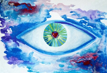 Drawing of bright illustration eye on the sky, cosmos universe mind, symbol freedom. Picture contains interesting idea, evokes emotions aesthetic pleasure. Natural paints. Concept art painting texture