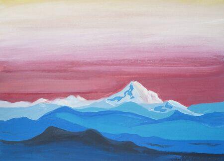 Drawing of bright blue white snow mountains, lines silhouette, pink yellow sky. Picture contains interesting idea, evokes emotions aesthetic pleasure. Natural paints. Concept art painting texture Stock fotó - 127334352