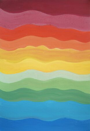 Drawing of bright colours composition rainbow lines, colorful modern style graphic. Picture contains interesting idea, evokes emotions aesthetic pleasure. Natural paints. Concept art painting texture
