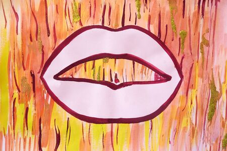 Drawing of bright pink woman mouth, silhouette contour, shiny stream of gold, asmr. Picture contains interesting idea, evokes emotions aesthetic pleasure. Natural paints. Concept art painting texture