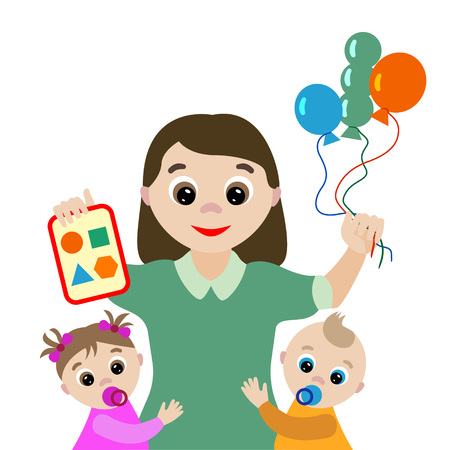 Vector illustration. Profession. Cartoon governess with two children isolated on white background Vetores